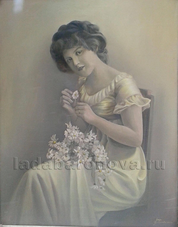 Интерьерная картина «Дама с ромашками»