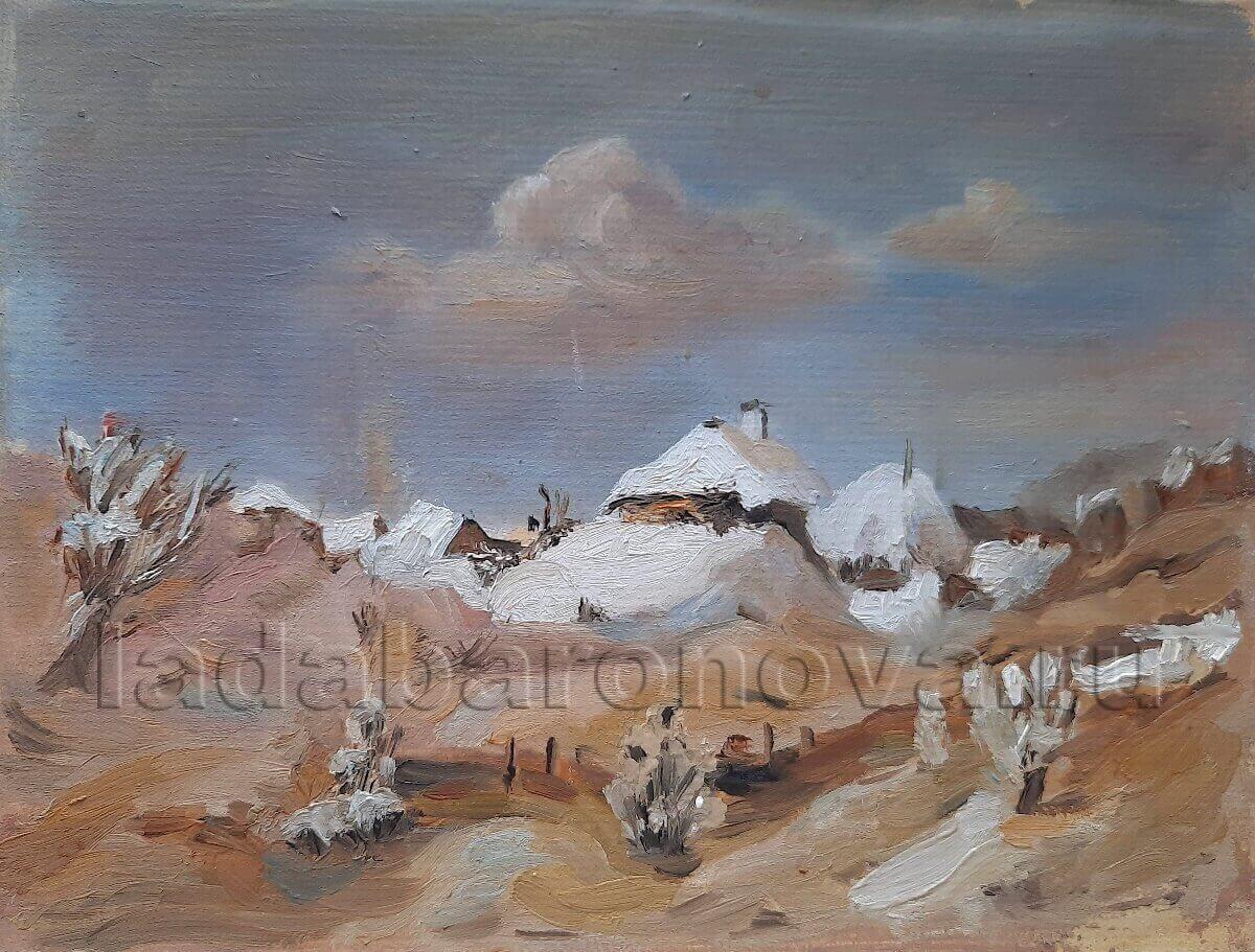 Копия картины В. Куинджи «Зима. Пятна лунного света на крышах хат»