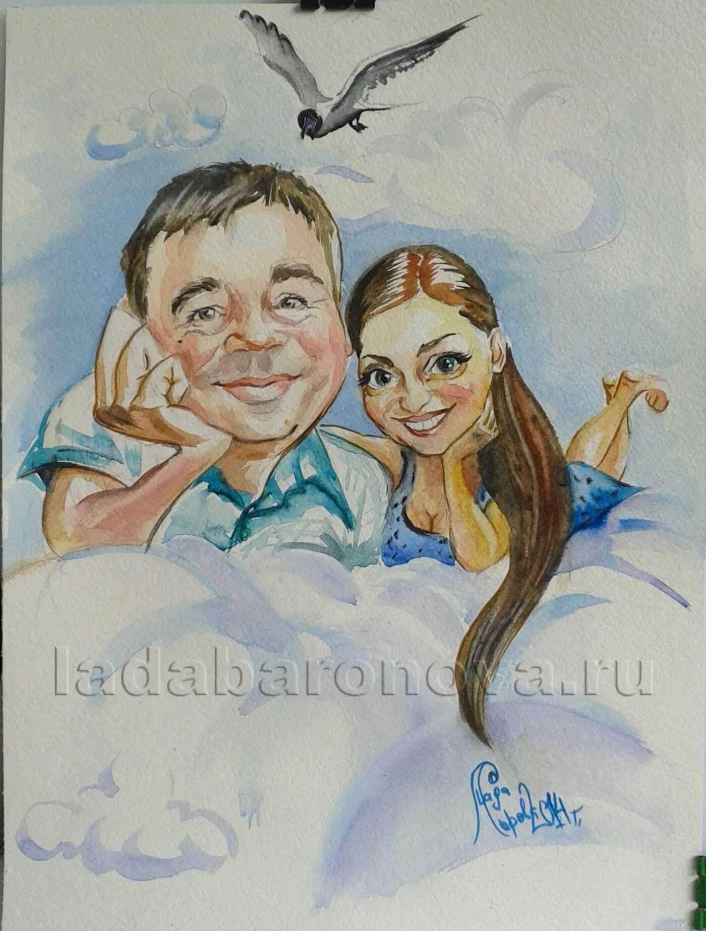 Шарж двойной «Мечтатели. Папа с дочкой»