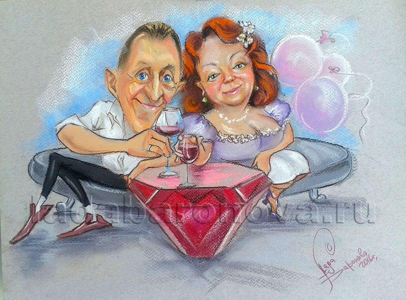 Шарж двойной «Рубиновая свадьба»