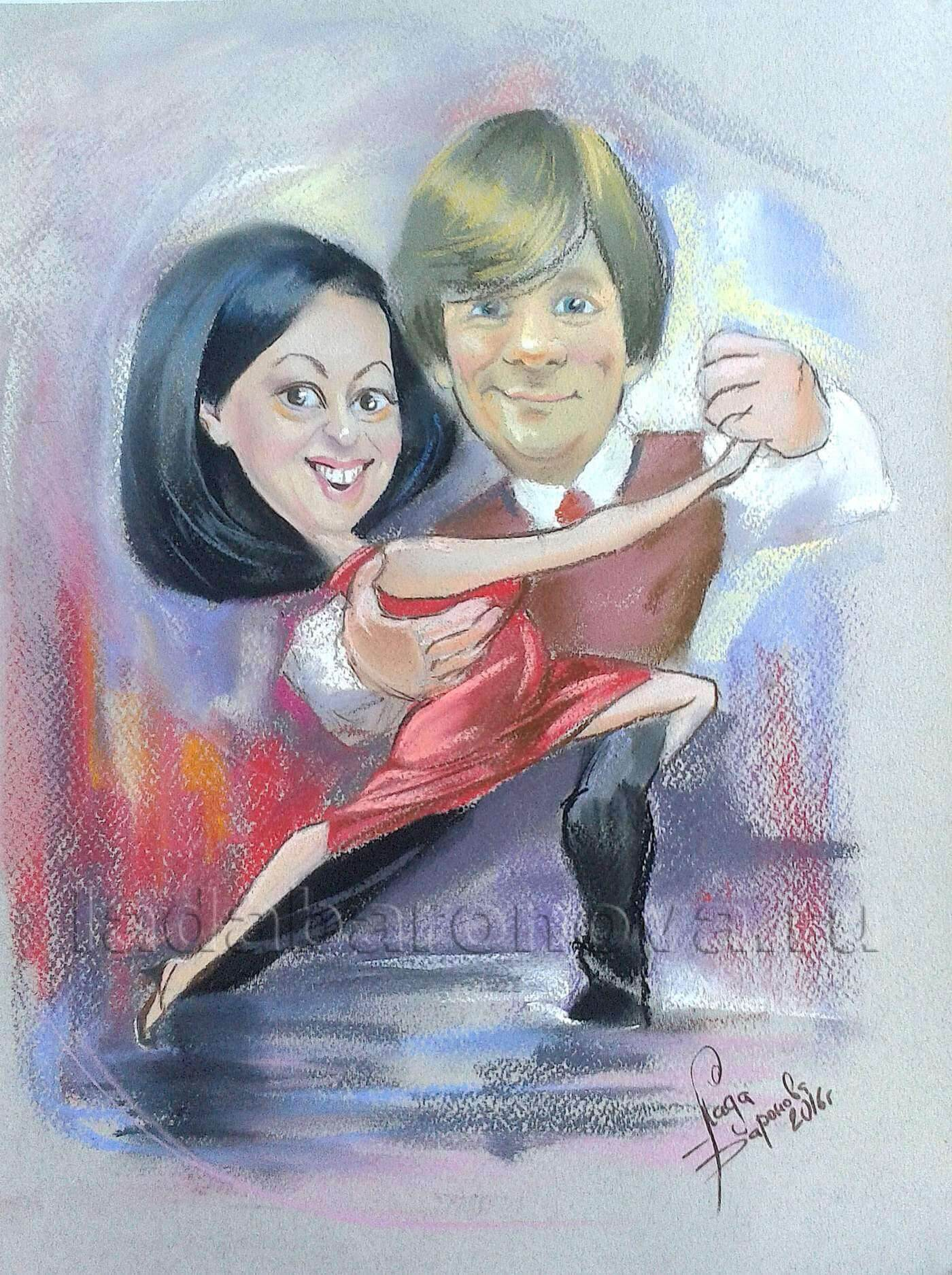 Шарж двойной «Танцующие танго»