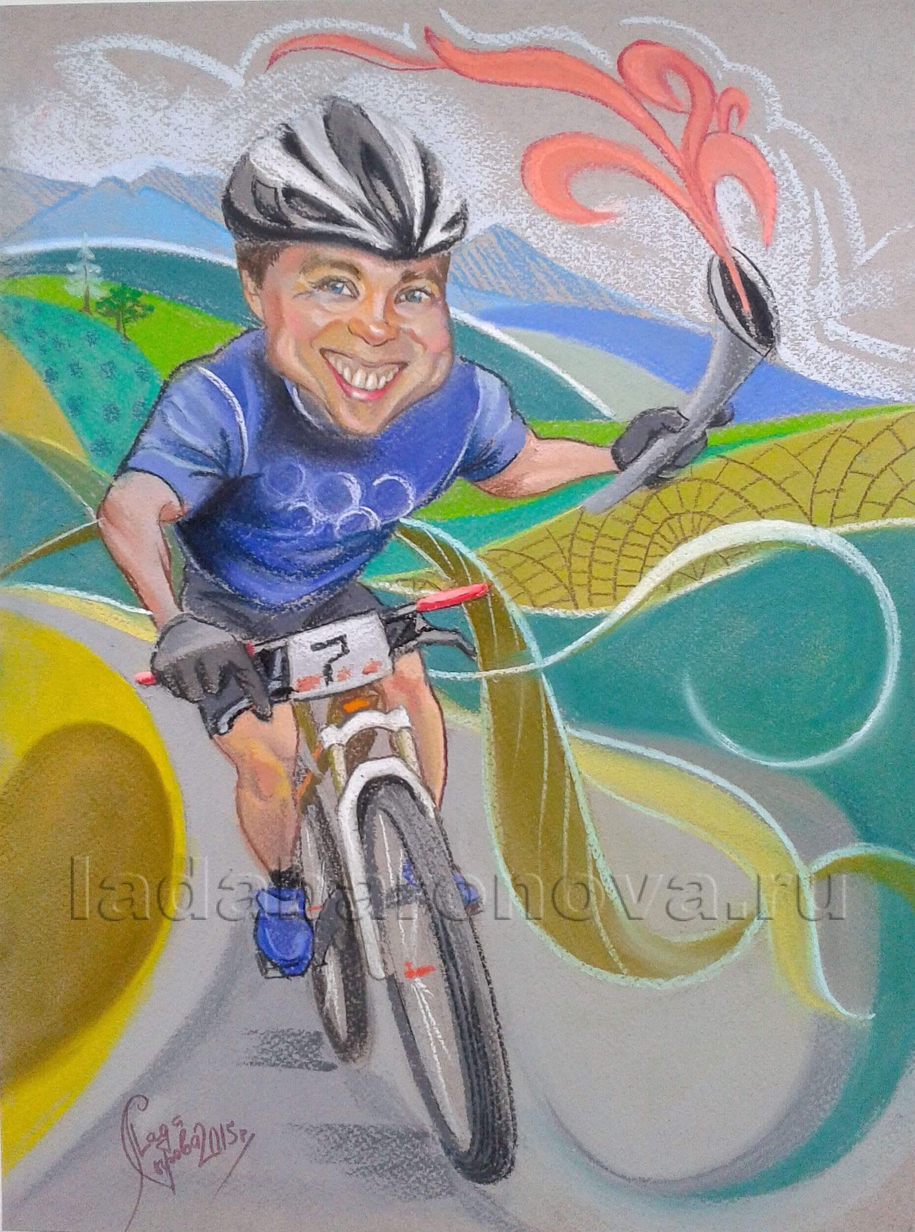 Шарж на мужчину «Велосипедист олимпийский»