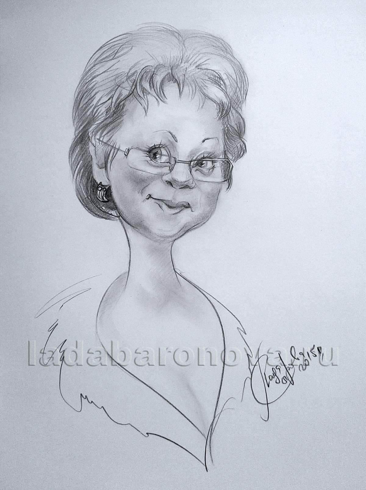 Шарж на женщину «Дама в очках»