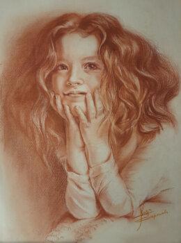 портрет девочки сангиной
