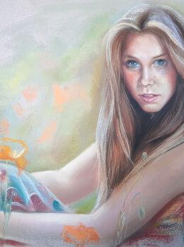 Портрет девушки с маками пастелью