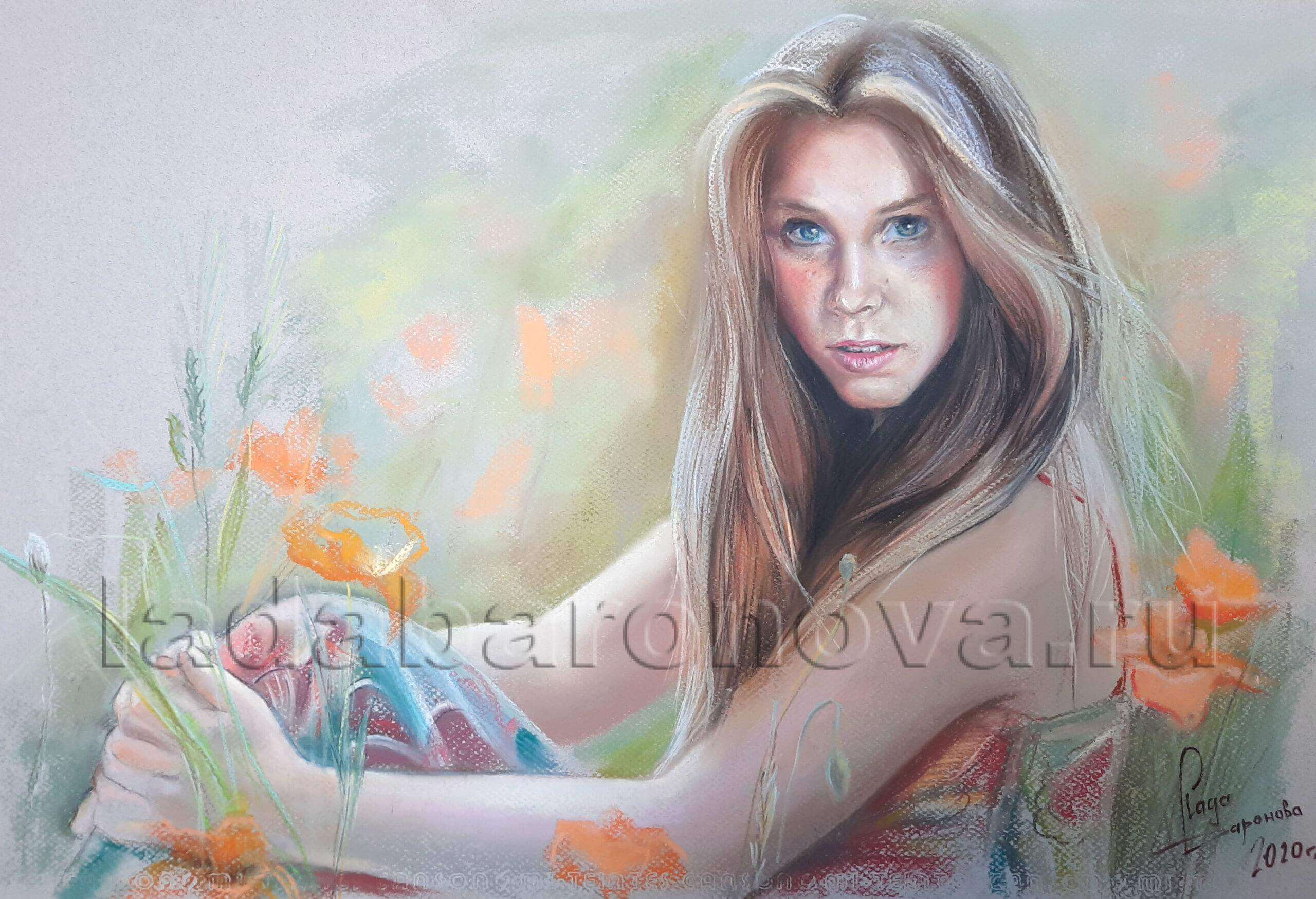 Портрет девушки на поляне с маками