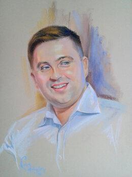Мужской портрет-пастель