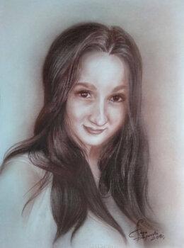 Портрет девушки сепией