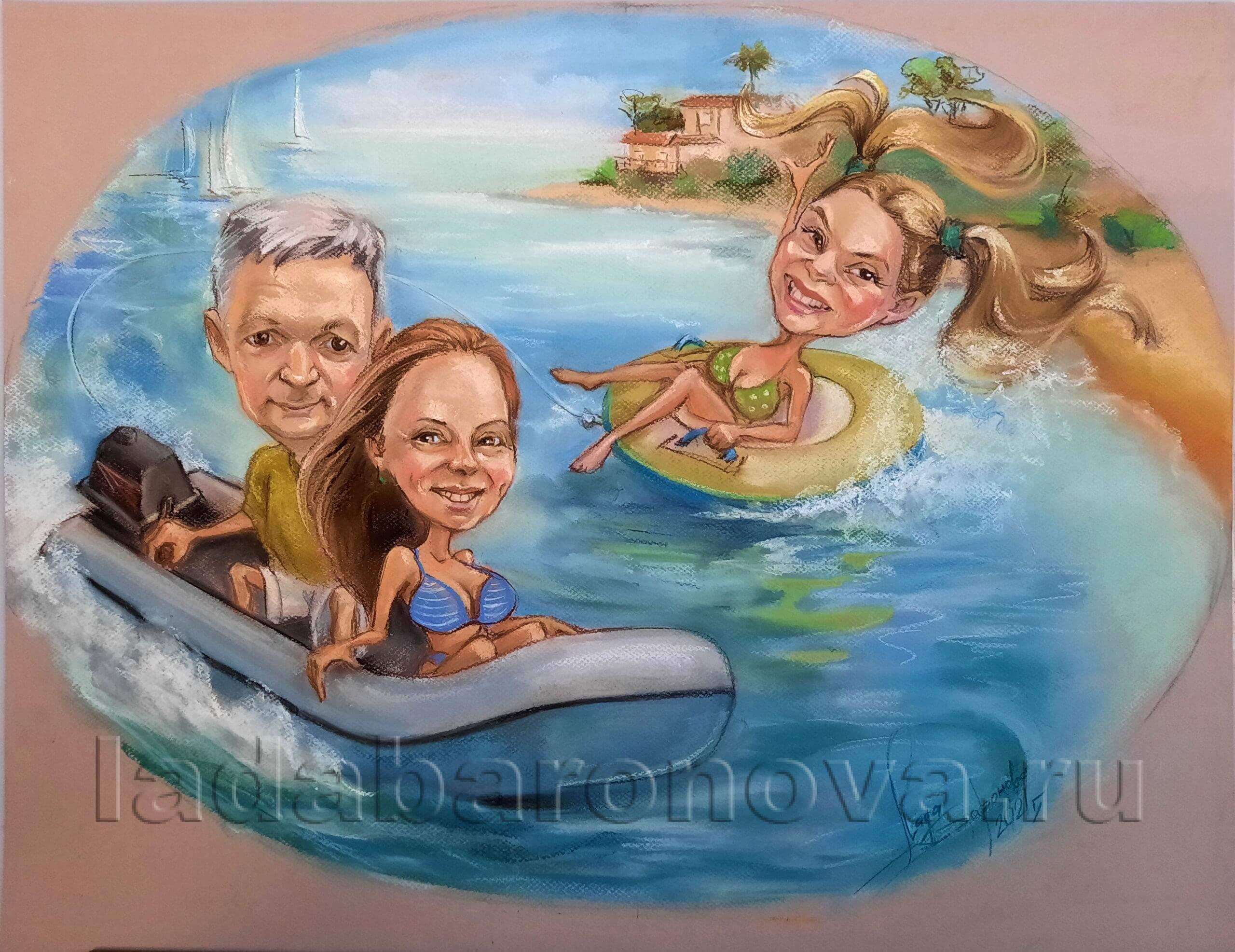 Семья на море. Овал